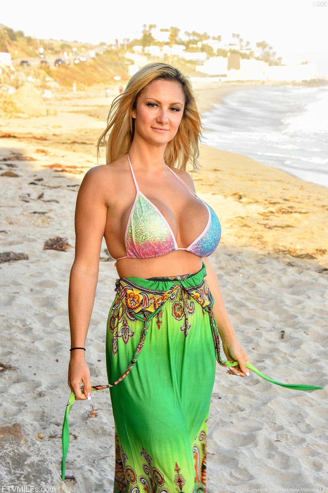 Bikini hot blonde busty